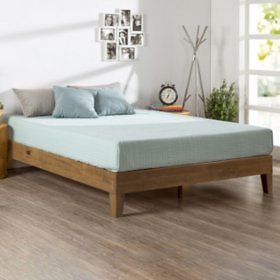 Night Therapy Rustic Oak Deluxe Solid Wood Platform Bed (Assorted Sizes) - Sam's Club