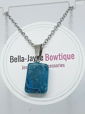 Blue Gemstone Square Pendant And Necklace Handmade Jewellery Gifts