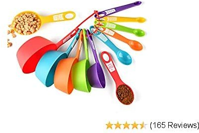 Measuring Cups and Spoons Set, 12 Piece Plastic Measuring Cups Measuring Spoons Stackable for Measuring Dry and Liquid Ingredients Great for Baking and Cooking (Random Color)