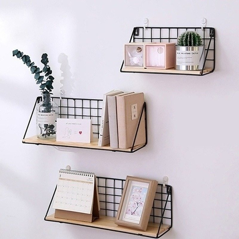 Metal Wall Shelf No Punching Mounted Storage Rack for Bedside Bedroom Wall Hanging Basket Shelves for Wall