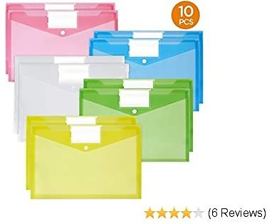 40% Off 10 Pcs A4 Size Clear Envelopes + Label Pocket & Button, Assorted Color, Free Shipping