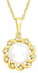Floral Freshwater Pearl Pendant with Diamonds in 14K Gold