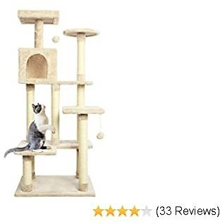 Cat Tree Pet Furniture Cat Condo with House,Cat Scratching Post Indoor for Cats and Kittens