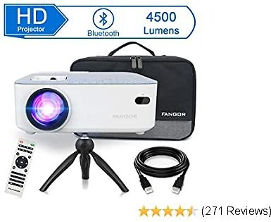 FANGOR HD Bluetooth Projector, 4500 Lux Portable LCD Projector 720P Native Resolution with Carrying Bag and Tripod, Compatible with Smartphone, TV Stick, Roku, PS4, Xbox, Full HD 1080P Supported