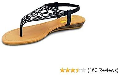 Sandals - Womens Rhinestone Flat Sandals - Black Comfortable Cute Sparkle Crystal Jeweled Sandal - Women's Casual Thong Sandalias Sandles Shoes With Elastic Ankle Strap for Summer Outdoor Black-Flat-sandal-Size 6 7 8 9 10