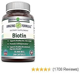 Amazing Formulas Biotin Supplement - 10,000mcg - 200 Capsules (Non-GMO, Gluten Free) Supports Healthy Hair, Skin & Nails - Promotes Cell Rejuvenation