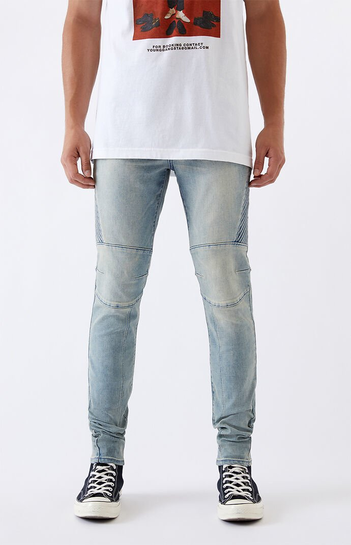 PacSun Medium Biker Stacked Skinny Jeans | PacSun