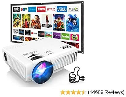 Best DR. J Professional HI-04 Mini Projector Outdoor Movie Projector with 100Inch Projector Screen, 1080P Supported
