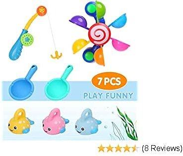50% Off Baby Bath Toys with 1 X Fishing Rod + 3 X Colorful Floating Fish + 2 X Spoons + 1 X Bath Windmill