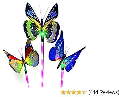 3 Pack Solar Stake Multi Color Changing LED Lights, Fiber Optic Solar Butterfly Decorative Lights (Butterfly)