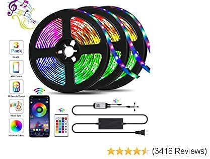 49.2FT LED Strip Lights, QZYL Lights Strip Music Sync, App Control with Remote, 5050 RGB LED Light Strip Color Changing 24-Key Remote, Sensitive Built-in Mic, LED Lights Rope Lights for Home TV Party