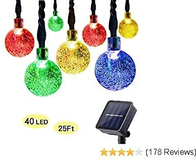 ECOWHO Solar String Lights Outdoor, 25ft 40 LED Waterproof Globe Solar Powered Fairy String Lights for Garden Patio Wedding Party Holiday Decoration(Multicolor)