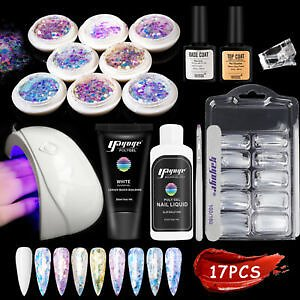 Nail Poly Extension Gel Set Uv Building Gel with 18W Lamp Nail Sequins Kits Uk