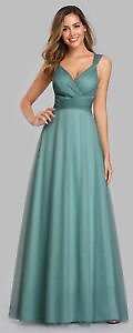 Ever-Pretty V-neck Bridesmaid Gowns Mesh Glitter Formal Backless A-line Dress