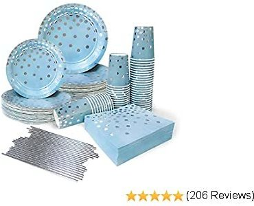 Blue and Silver Party Supplies 50 Guests