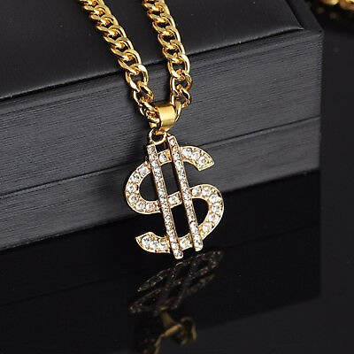 18K Gold Plated Dollar Sign Necklace Gangster Pimp Men's Fashion Pendant Chain
