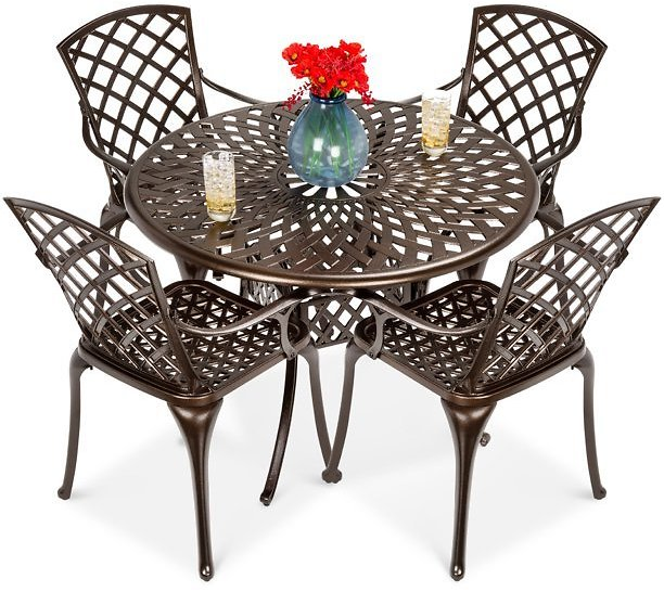 Best Choice Products 5-Piece All-Weather Cast Aluminum Patio Dining Set w/ Chairs, Umbrella Hole, Lattice Weave Design