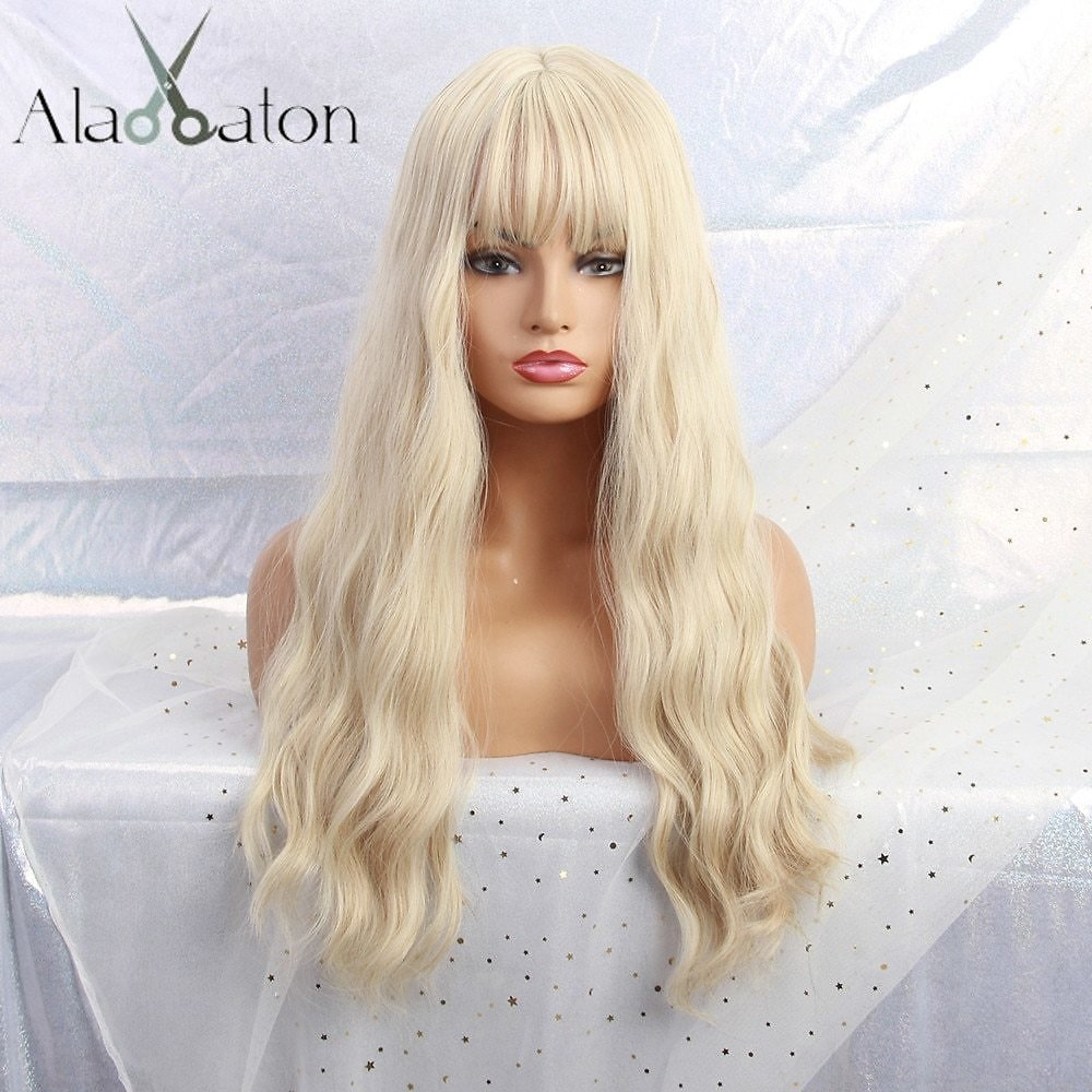 Long Light Blonde Wigs with Bangs Heat Resistant Synthetic Wavy Wigs for Women African American Fashion Hairs Peruca