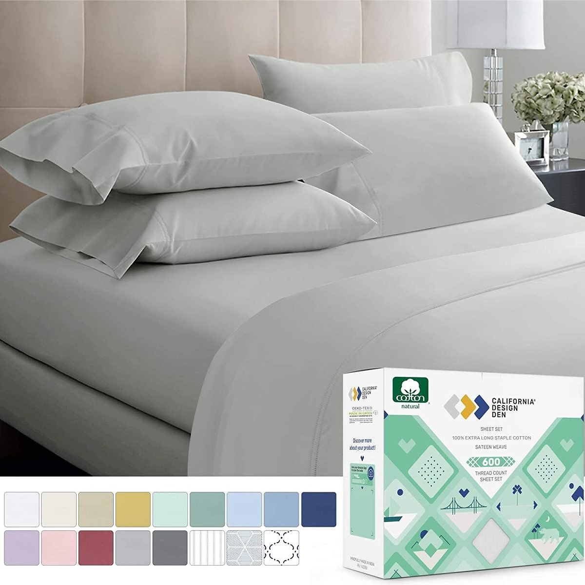 California Design Cotton Sheets (Fits Mattress 16'' Deep Pocket, Sateen Weave, Soft Cotton 4 Piece Bed Sheets Set