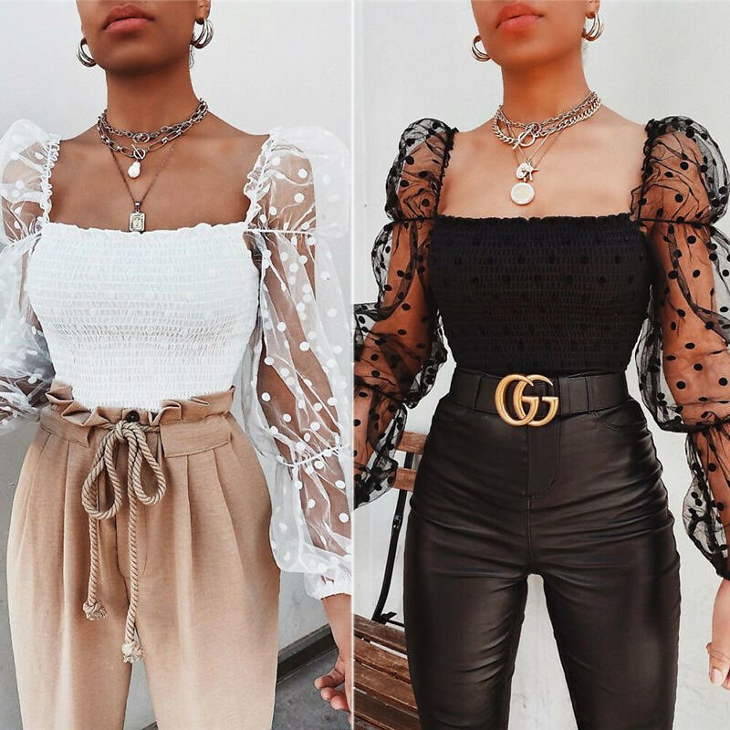 US $5.16 16% OFF|Women Square Collar Blouse 2020 New Arrival Female Summer Puff Ruffle Long Sleeve Shirt White Black Casual Ruched Blouse Tops|Blouses & Shirts| - AliExpress