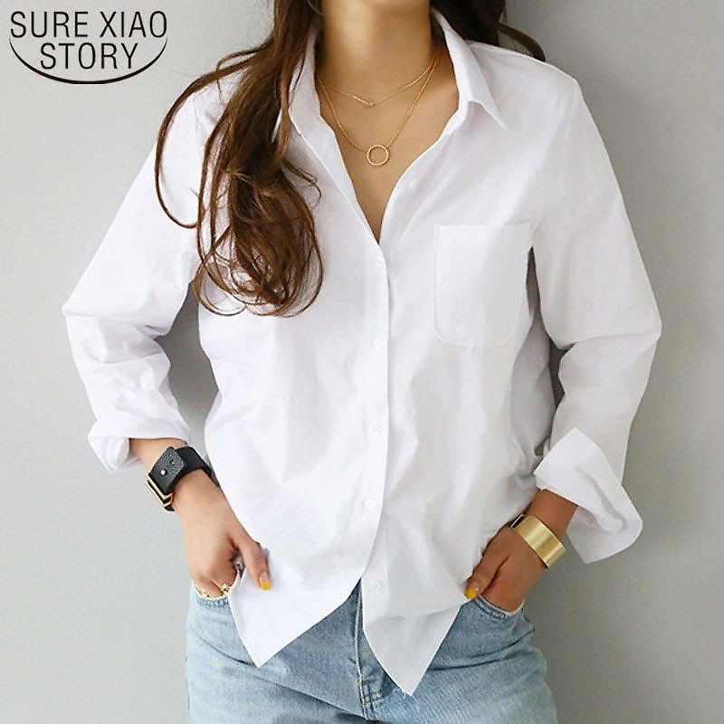 US $12.16 31% OFF|women Shirts and Blouses 2020 Feminine Blouse Top Long Sleeve Casual White Turn Down Collar OL Style Women Loose Blouses 3496 50|Blouses & Shirts| - AliExpress