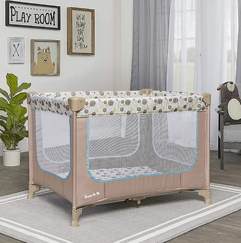Dream On Me, Zodiak Portable Playard (Coffee/Blue)