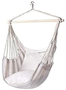Cotton Canvas Hanging Chair, Hammock Chair Hanging Rope Swing-Max 330 Lbs-2 Cushions Included-Large Macrame Hanging Chair with Pocket- Quality Cotton Weave for Superior Comfort & Durability (Beige)