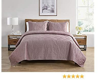 Tahari Home   Wendy Bedding Collection   Luxury Premium Ultra Soft Quilt Coverlet, Lightweight Comfortable 3 Piece Set, Elegant Modern Embossed Charmeuse Print, Full/Queen, Rose