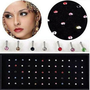 Wholesale 60x Crystal Nose Ring Bone Stud Stainless Steel Body Piercing Jewelry