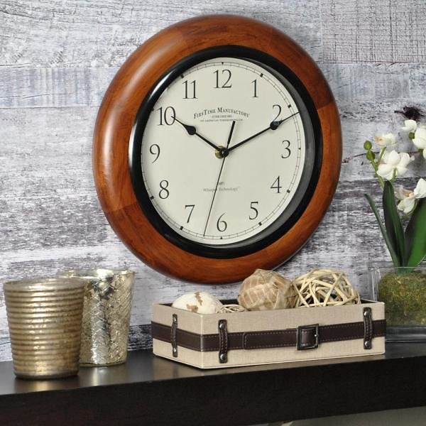 FirsTime & Co 11-in Walnut Round Wall Clock