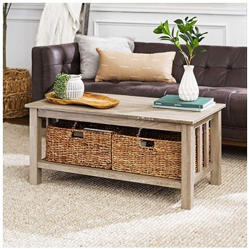 Walker Edison Furniture Rustic Wood Coffee Accent Table