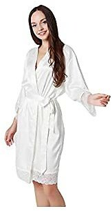 Pajamas Women's Pure Color Satin V-Neck Silky Kimono Bathrobe Bridesmaid Dress Wedding
