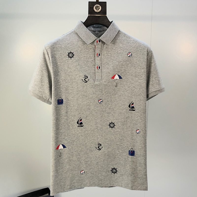 2020 New Brand Men's Polo Shirt Summer Short Sleeve Classic Homme Clothing Casual Cotton Luxury Designer Slim Print Fashion Tops