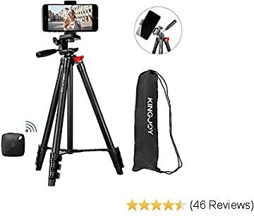 Phone Tripod, Kingjoy 53-inch Extendable Lightweight Aluminum Tripod Stand with Universal Cell Phone Holder&Remote Shutter, Compatible with Smartphone & Tablet & Camera