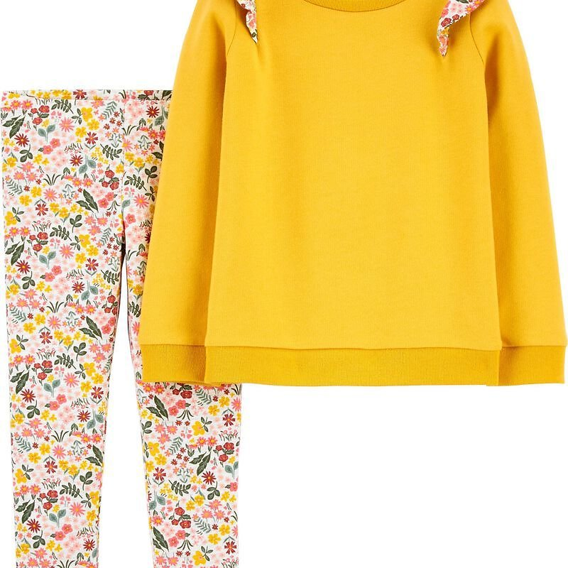 2-Piece Flutter French Terry Top & Floral Legging Set