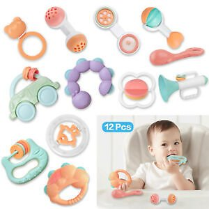 12PC Newborn Toddler Baby Shaking Bell Rattles Teether Kids Hand Toys Funny Gift