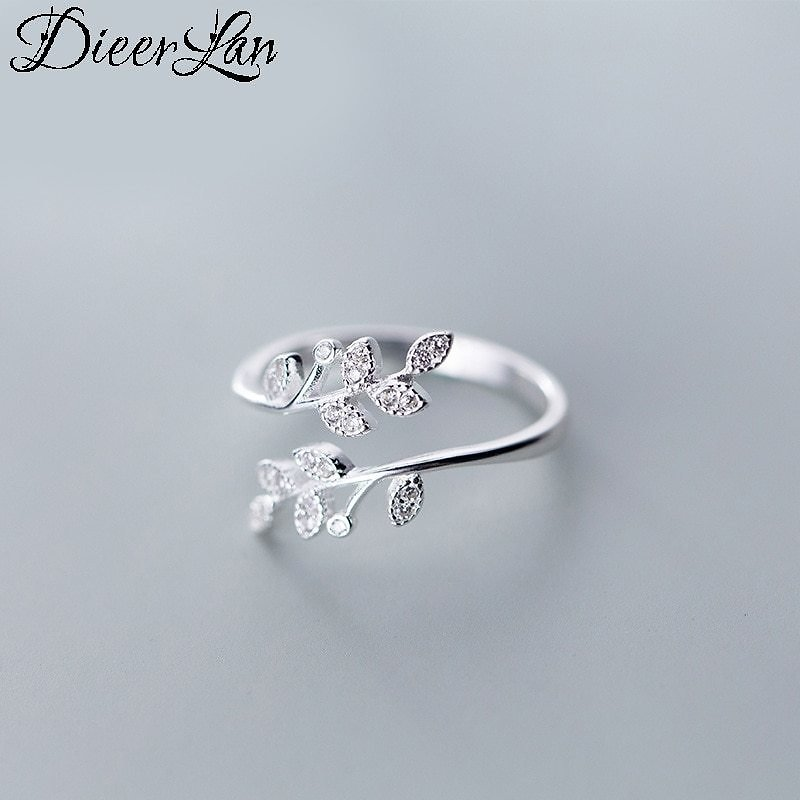 US $2.5 |DIEERLAN Personality 925 Sterling Silver Crystal Leaf Rings For Women Wedding Jewelry Adjustable Antique Finger Ring Anillos|Rings| - AliExpress