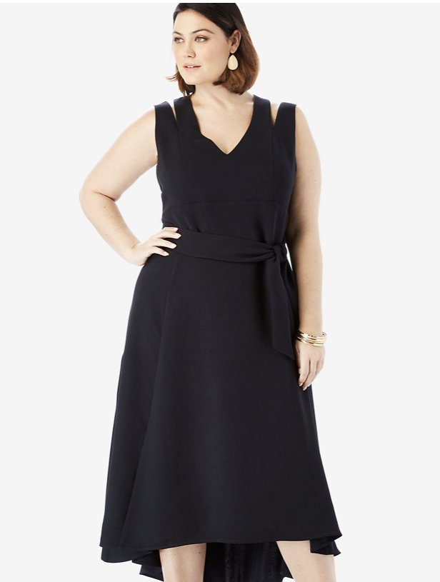 Sleeveless Fit & Flare Dress with High-Low Hem