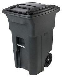 Toter 64 Gal. Greenstone Trash Can with Wheels and Attached Lid-79264-R2968