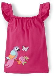 Girls Short Flutter Sleeve Embroidered Applique Parrot Ruffle Top