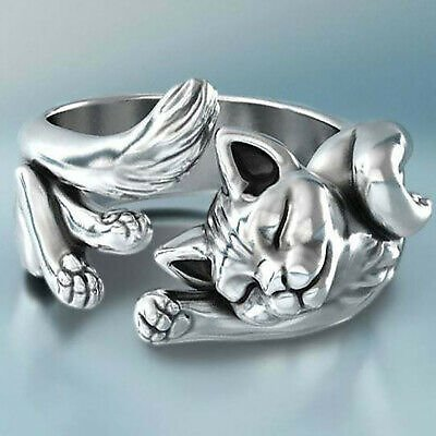 New 925 Silver Cute Cat Adjustable Ring Silver Wedding Rings Women Jewelry Gifts