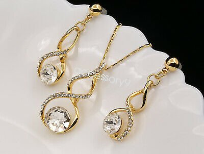 Crystal Twist Charms Pendant Gold Plated Necklace Drop Earrings Set Jewelry U43