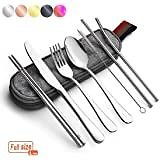 Travel Utensils,Reusable Silverware Set To Go Portable Cutlery Set with a Waterproof Carrying Case for Lunch Boxes Workplace Cam