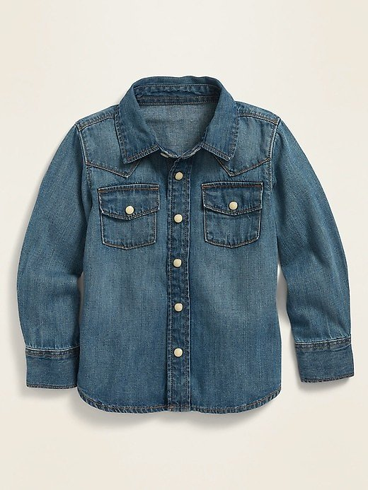 Long-Sleeve Western Jean Shirt for Toddler Boys | Old Navy