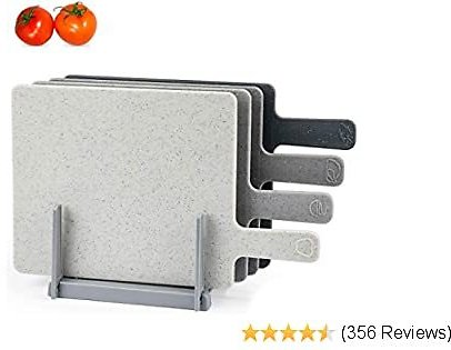 "Chopping Board Set for Kitchen Holder, Index Small Cutting Board Easy-Grip Handle BPA Free, Dishwasher Safe, Thick Cutting Boards With Draining Rack & Food Icons for Kitchen, 9.45"" X 7.88"