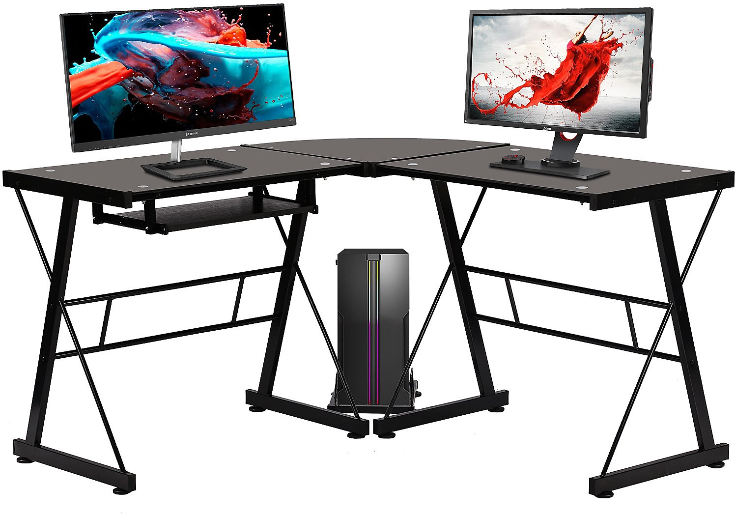 L Shaped Desk Office Computer Glass Corner Desk With Keyboard Tray