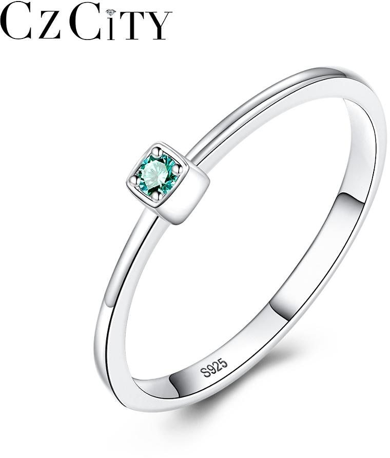 US $4.99 |CZCITY Genuine 925 Sterling Silver VVS Green Topaz Wedding Rings for Women Minimalist Thin Circle Gem Rings Jewelry Carving S925|Rings| - AliExpress