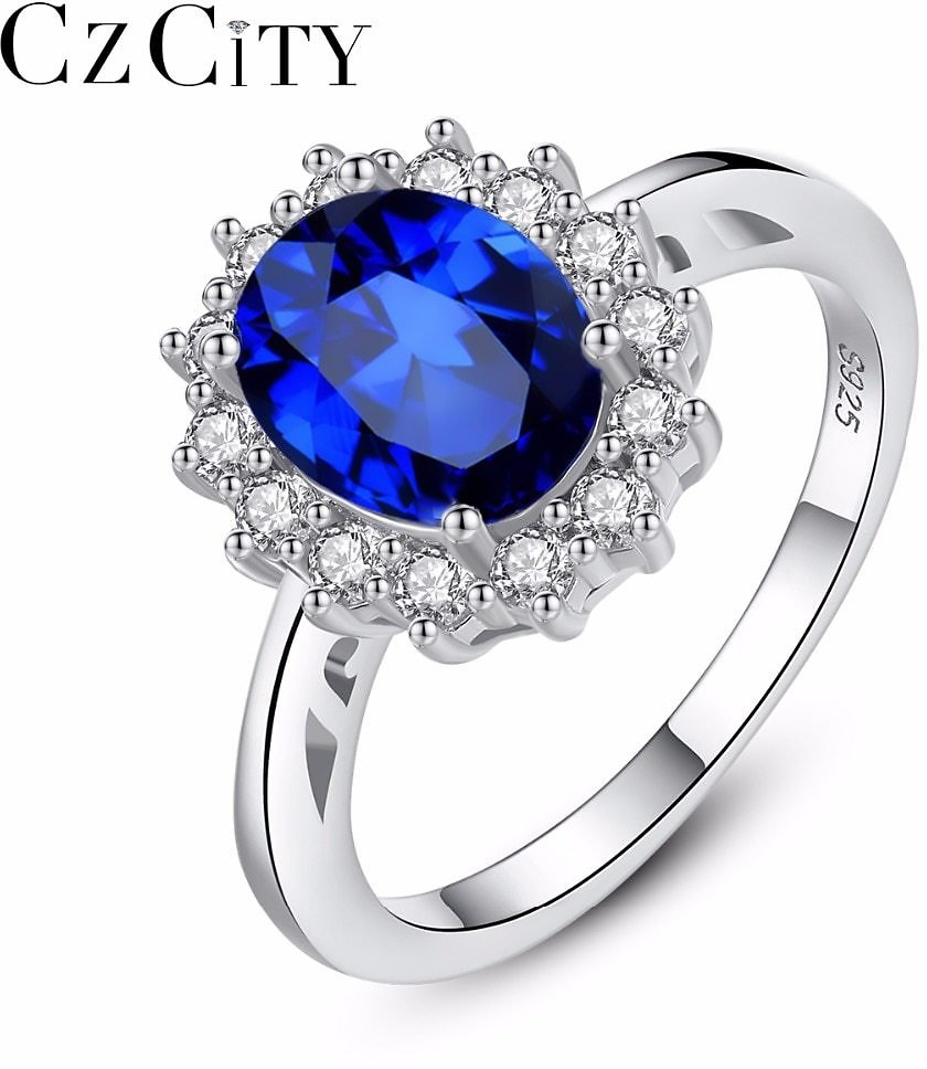 US $8.17 50% OFF|CZCITY Princess Diana William Kate Sapphire Emerald Ruby Gemstone Rings for Women Wedding Engagement Jewelry 925 Sterling Silver|Rings| - AliExpress