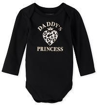 Baby Girls Long Sleeve 'Daddy's Princess' Leopard Heart Graphic Bodysuit