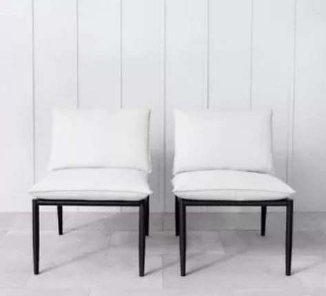 2pk Outdoor Patio Club Chair with Cream Cushions - Hearth & Hand with Magnolia